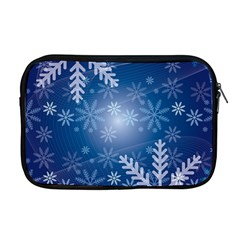 Snowflakes Background Blue Snowy Apple Macbook Pro 17  Zipper Case by Celenk