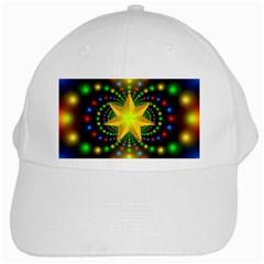 Christmas Star Fractal Symmetry White Cap by Celenk
