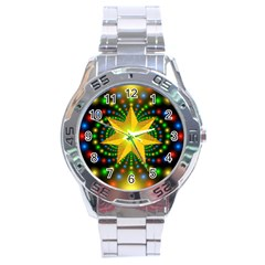 Christmas Star Fractal Symmetry Stainless Steel Analogue Watch by Celenk
