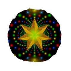 Christmas Star Fractal Symmetry Standard 15  Premium Round Cushions by Celenk