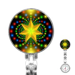 Christmas Star Fractal Symmetry Stainless Steel Nurses Watch by Celenk