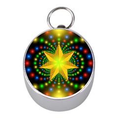 Christmas Star Fractal Symmetry Mini Silver Compasses by Celenk