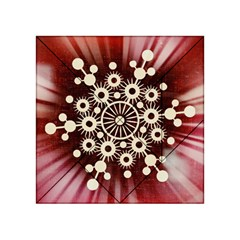 Background Star Red Abstract Acrylic Tangram Puzzle (4  X 4 ) by Celenk