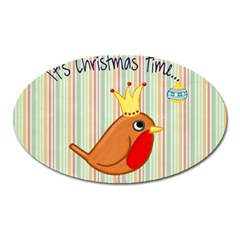 Bird Christmas Card Blue Modern Oval Magnet by Celenk