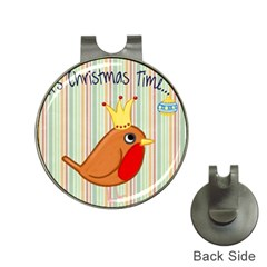 Bird Christmas Card Blue Modern Hat Clips With Golf Markers by Celenk
