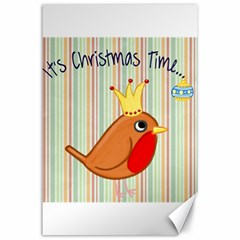 Bird Christmas Card Blue Modern Canvas 24  X 36  by Celenk