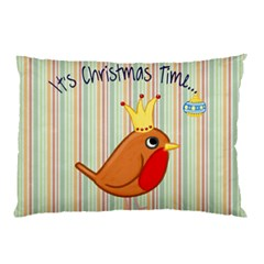 Bird Christmas Card Blue Modern Pillow Case