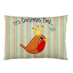 Bird Christmas Card Blue Modern Pillow Case 26.62 x18.9 Pillow Case