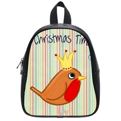 Bird Christmas Card Blue Modern School Bag (small) by Celenk