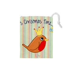 Bird Christmas Card Blue Modern Drawstring Pouches (small)  by Celenk