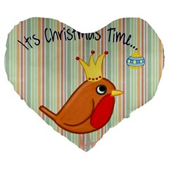 Bird Christmas Card Blue Modern Large 19  Premium Flano Heart Shape Cushions by Celenk