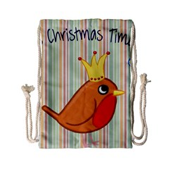 Bird Christmas Card Blue Modern Drawstring Bag (small) by Celenk