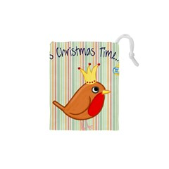 Bird Christmas Card Blue Modern Drawstring Pouches (xs)  by Celenk
