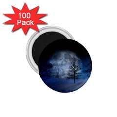 Winter Wintry Moon Christmas Snow 1 75  Magnets (100 Pack)  by Celenk