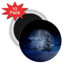 Winter Wintry Moon Christmas Snow 2 25  Magnets (10 Pack)  by Celenk