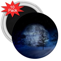 Winter Wintry Moon Christmas Snow 3  Magnets (10 Pack)  by Celenk