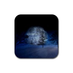 Winter Wintry Moon Christmas Snow Rubber Coaster (square)  by Celenk