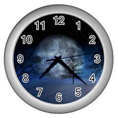 Winter Wintry Moon Christmas Snow Wall Clocks (silver)  by Celenk