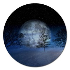 Winter Wintry Moon Christmas Snow Magnet 5  (round) by Celenk