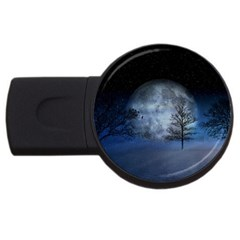 Winter Wintry Moon Christmas Snow Usb Flash Drive Round (2 Gb) by Celenk