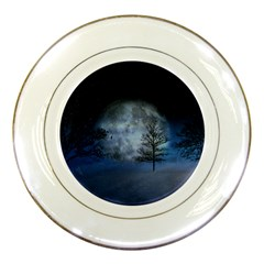 Winter Wintry Moon Christmas Snow Porcelain Plates by Celenk