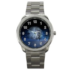 Winter Wintry Moon Christmas Snow Sport Metal Watch by Celenk