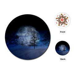 Winter Wintry Moon Christmas Snow Playing Cards (round)  by Celenk