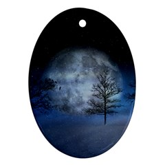 Winter Wintry Moon Christmas Snow Oval Ornament (two Sides) by Celenk