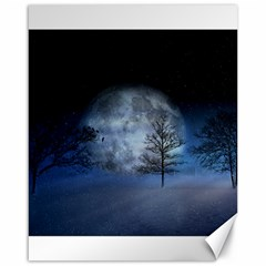 Winter Wintry Moon Christmas Snow Canvas 16  X 20   by Celenk