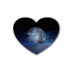 Winter Wintry Moon Christmas Snow Heart Coaster (4 Pack)  by Celenk
