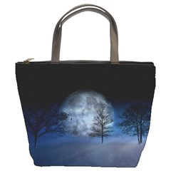 Winter Wintry Moon Christmas Snow Bucket Bags by Celenk