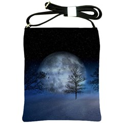 Winter Wintry Moon Christmas Snow Shoulder Sling Bags by Celenk