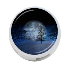 Winter Wintry Moon Christmas Snow 4 Port Usb Hub (two Sides)  by Celenk