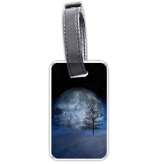 Winter Wintry Moon Christmas Snow Luggage Tags (two Sides) by Celenk