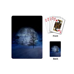 Winter Wintry Moon Christmas Snow Playing Cards (mini)  by Celenk