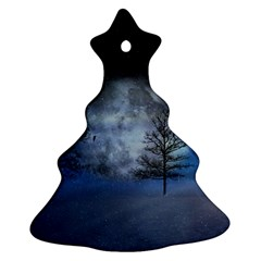 Winter Wintry Moon Christmas Snow Ornament (christmas Tree)  by Celenk