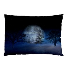 Winter Wintry Moon Christmas Snow Pillow Case (two Sides) by Celenk