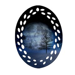Winter Wintry Moon Christmas Snow Ornament (oval Filigree) by Celenk