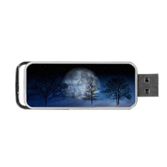 Winter Wintry Moon Christmas Snow Portable Usb Flash (one Side) by Celenk