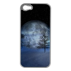 Winter Wintry Moon Christmas Snow Apple Iphone 5 Case (silver) by Celenk