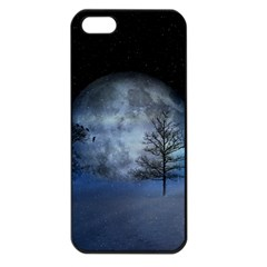 Winter Wintry Moon Christmas Snow Apple Iphone 5 Seamless Case (black) by Celenk