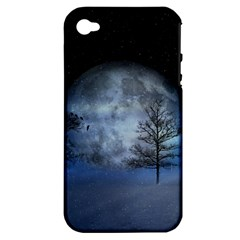 Winter Wintry Moon Christmas Snow Apple Iphone 4/4s Hardshell Case (pc+silicone) by Celenk