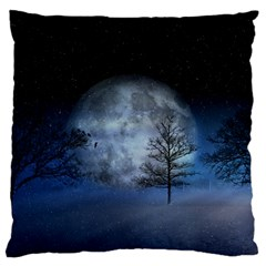 Winter Wintry Moon Christmas Snow Large Flano Cushion Case (one Side)