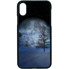 Winter Wintry Moon Christmas Snow Apple Iphone X Seamless Case (black) by Celenk