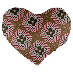 Pattern Texture Moroccan Print Large 19  Premium Heart Shape Cushions by Celenk
