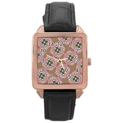 Pattern Texture Moroccan Print Rose Gold Leather Watch  by Celenk