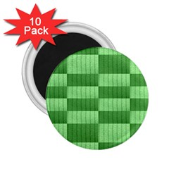 Wool Ribbed Texture Green Shades 2 25  Magnets (10 Pack)  by Celenk
