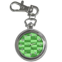 Wool Ribbed Texture Green Shades Key Chain Watches by Celenk