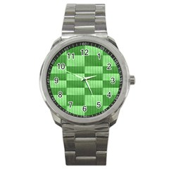 Wool Ribbed Texture Green Shades Sport Metal Watch by Celenk