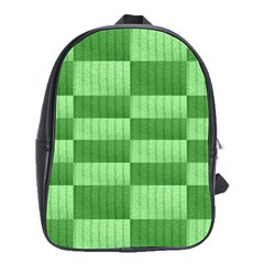 Wool Ribbed Texture Green Shades School Bag (large) by Celenk
